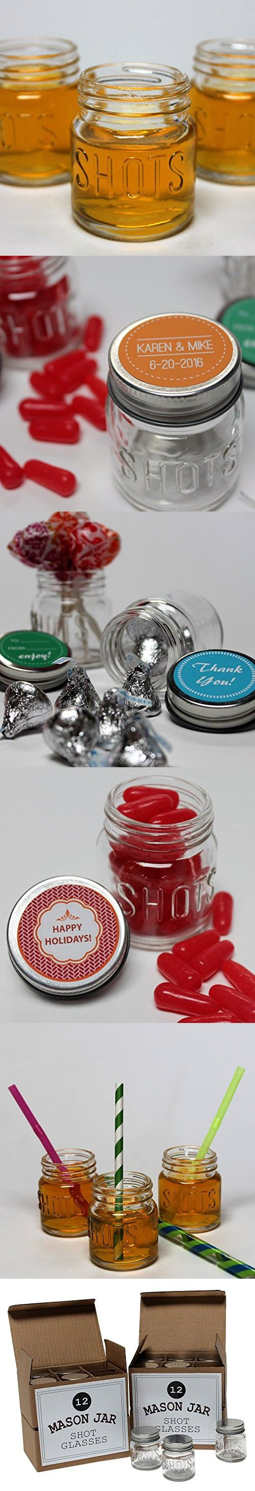 craft ideas for bridal shower favors%0A Mason Jar   Ounce Shot Glasses Set of    With LeakProof Lids  Great