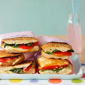 Pepper, Olive Relish, and Smoked Mozzarella Panini can be made without a panini machine.