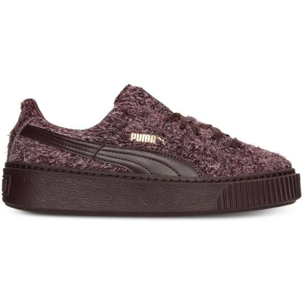 Puma Women's Suede Creepers Elemental Casual Sneakers from Finish Line... ❤ liked on Polyvore featuring shoes, sneakers, suede trainers, suede shoes, creeper shoes, suede leather shoes and suede sneakers