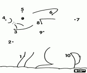desenho de Ligue os pontos de um animal para colorir