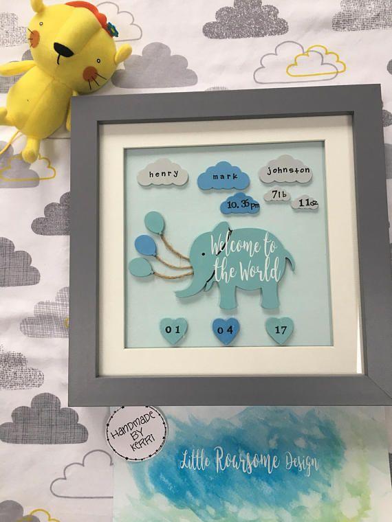 Nursery art decor elephant balloons hearts & clouds with