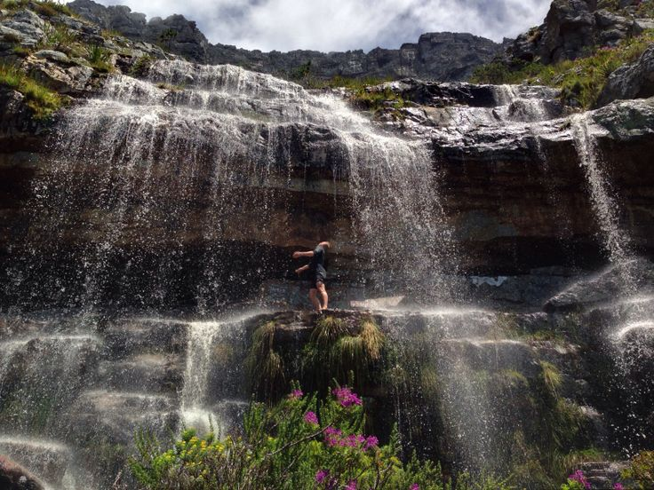 Revelling in the waterfalls that appear suddenly after a Cape storm. Table Mountain, Cape Town, South Africa. (Photo: A Jacobsen)