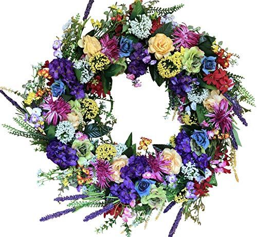 The Wreath Depot Ardmore Spring Front Door Wreath 22 Inch Gorgeous Faux Spring Flower Wr In 2020 With Images Spring Flower Wreath Spring Front Door Wreaths Wreaths For Front Door