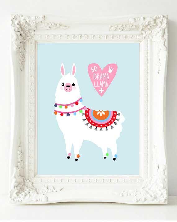Llama Quote Print Poster Rose Gold Wall Art