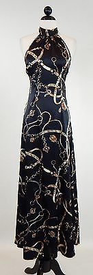 S-TWELVE Sexy Long Black Bridle Equestrian Chain Print Halter Dress  Size M