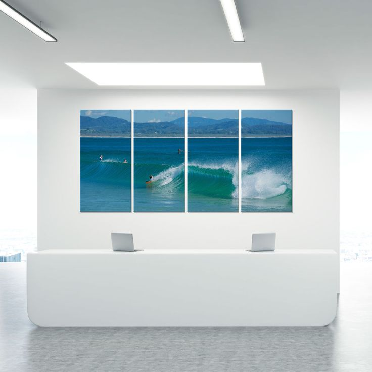 Aqua at the wreck byron bay art on glass quadtych john lechner art the office art specialists we create great workspaces with a positive culture