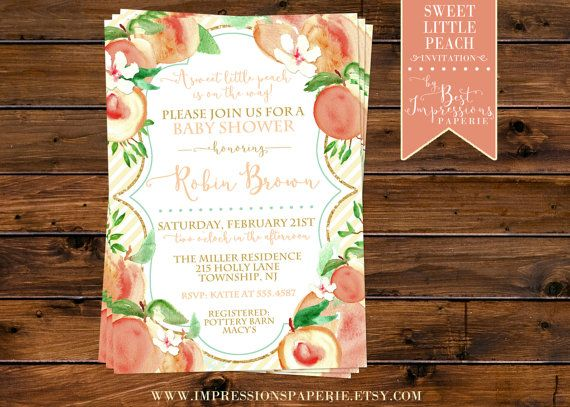 Sweet Little Peach A Shower Invitation by ImpressionsPaperie