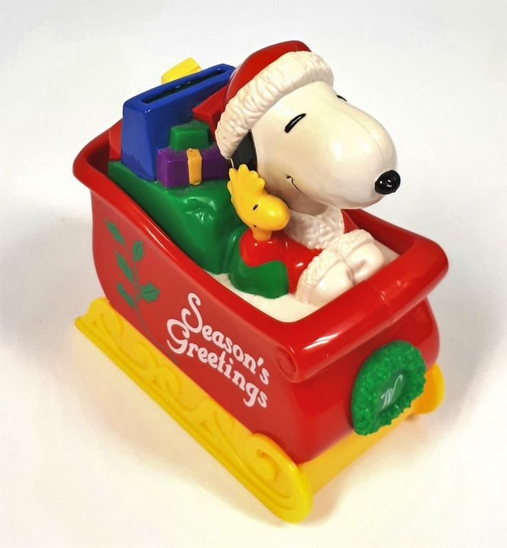 Snoopy and Woodstock on Sleigh Bank Seasons Greetings Whitman's Candies