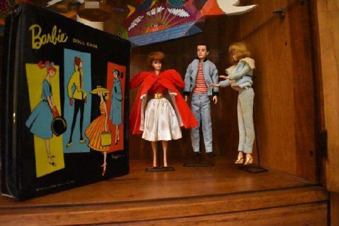 Found on EstateSales.NET: Ken & Barbie Dolls by Mattel, Barbie Ken Case with Cloths
