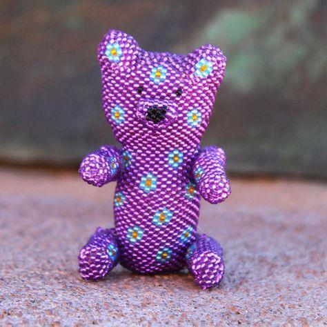 Beaded Purple Teddy Bear by Ronda Dosedo - Zuni - Native American Beadwork