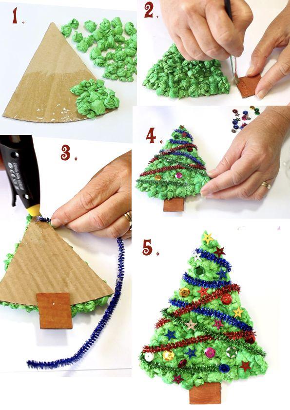 Tissue Paper Christmas Tree Christmas Tree Crafts Paper Christmas Tree Christmas Crafts For Kids