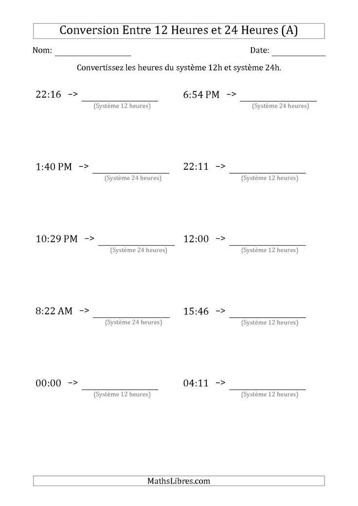 La Conversion Entre les Heures du Système 12H et Système 24H (A) Fiche d'Exercices sur la Mesure de Temps