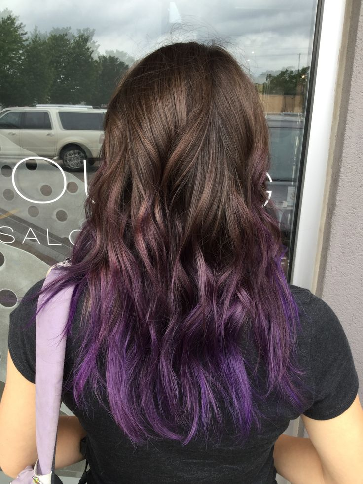 Purple balayage hair. Purple hair color tips. Purple ombre