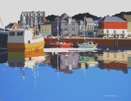Alan TYERS - The Yellow Boat, Padstow Harbour - Paintings of boats at the www.redraggallery.co.uk