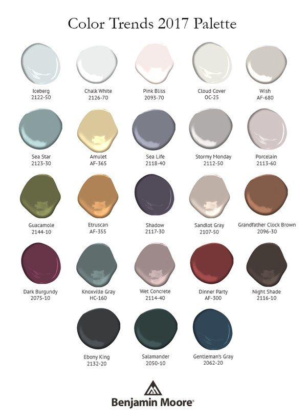 Benjamin Moore's 2017 color palette. Etruscan and Amulet