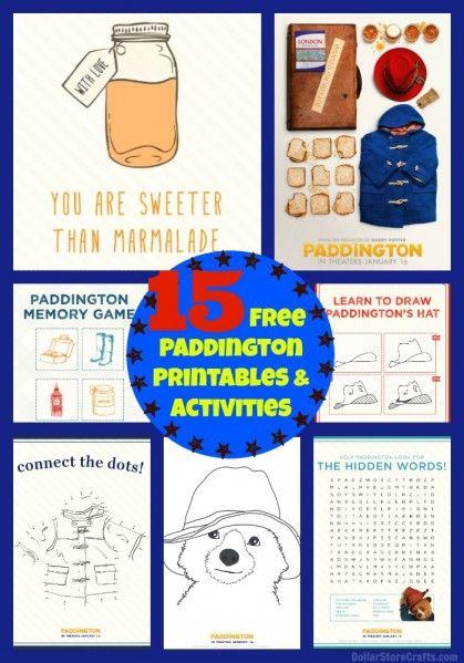 15 Free Paddington Printables. Thanks to @heathermann1 for sharing.