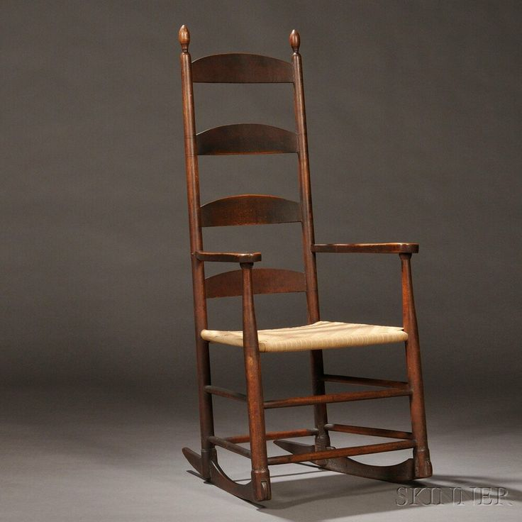 Shaker Brown-Red-painted Rocking Chair | Sale Number 2731M, Lot Number 9 - 57 Best Ladder Back Chairs Images On Pinterest Antique Furniture