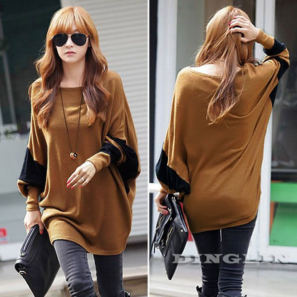 Korean Vogue Women's Girl Batwing Long Sleeve O Neck Loose Patchwork Casual Cotton Camel Top T-Shirt Blouse M Free Shipping 1194 US $11.88