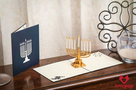 Hanukkah Menorah Pop-up Card; Happy Hanukah Card, Hebrew Card, Festival of Lights, Feast of Dedication, Jewish Greeting Card, Chanukah Card