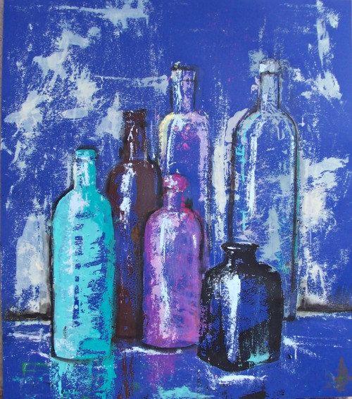 Still Life blue Tequila bottles modern art by MyMexicanArt on Etsy,