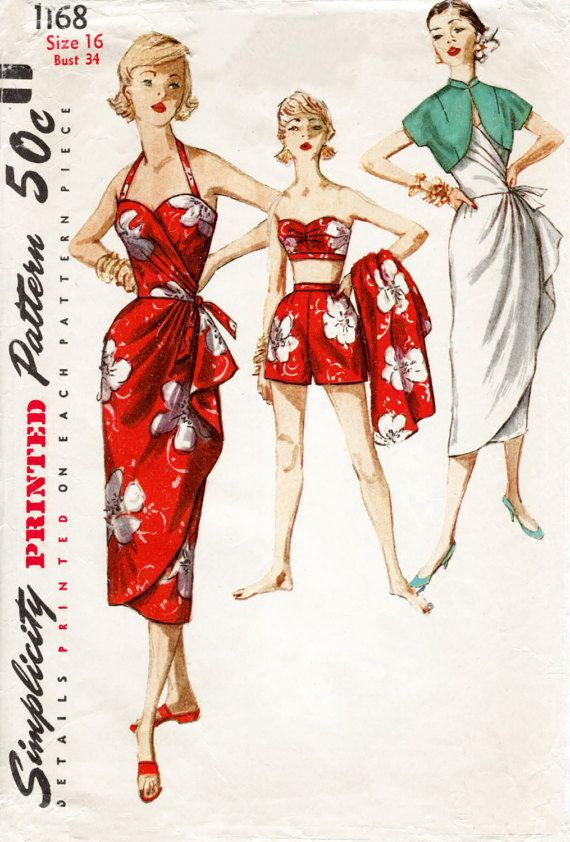 1950s 1960s Simplicity 1168 vintage sarong dress sewing pattern bra shorts & jacket pin up beachwear bust 34 b34 repro