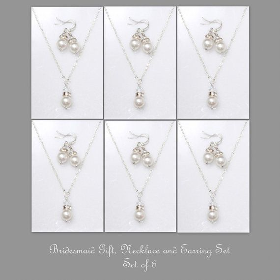 Set of 6,  Bridesmaid Gift Set,  Swarovski White Pearl Necklace and Earring Set, Bridesmaid Jewelry Set (Also Available in Other Colors)