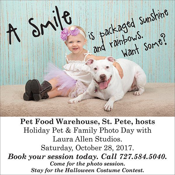Another doggone fun-filled weekend is coming up, so mark your calendars. There are still a few spots open for the Holiday Pet & Family Photo Day, this Saturday, at Pet Food Warehouse between 9a and 4p. Have you always wanted a session with Laura Allen Studios? Now is your opportunity. Choose from some lush new backgrounds and fun props for a keepsake portrait you'll treasure forever. To book your private session, call 727.584.5040. #PHOTOS