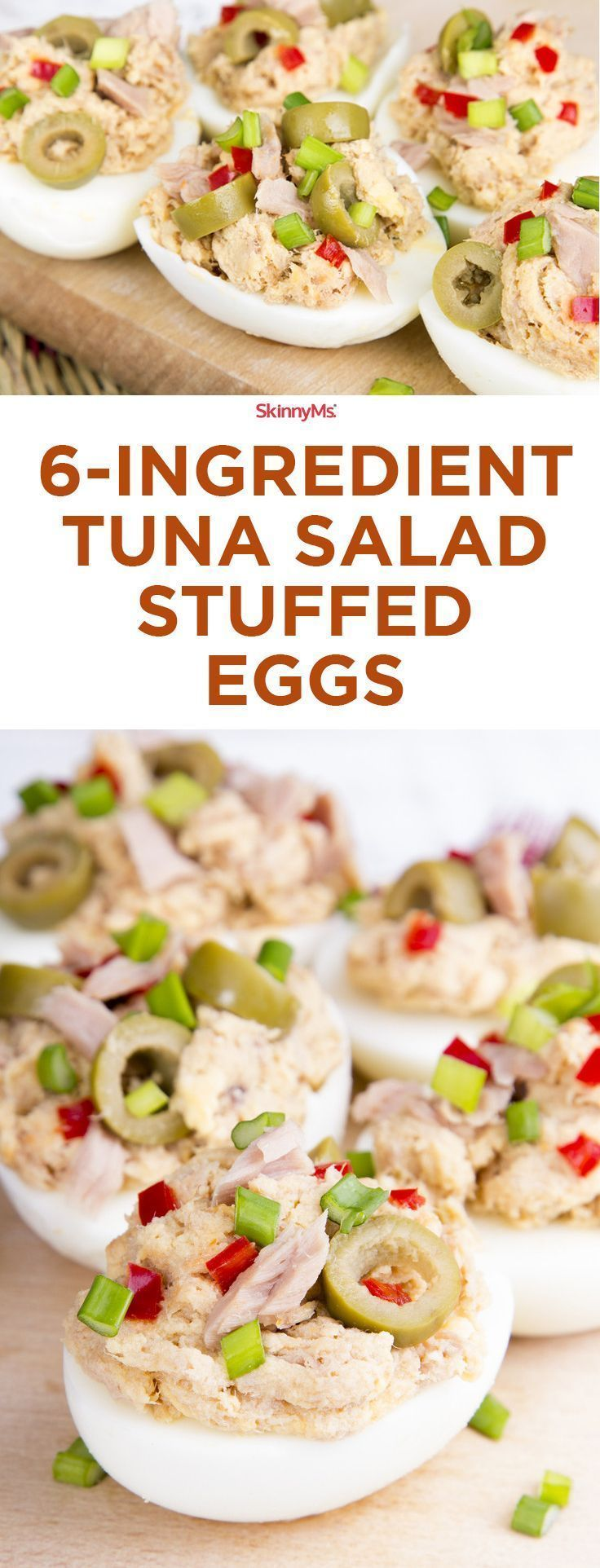 6-Ingredient Tuna Salad Stuffed Eggs - you've never had tuna salad like this before! #skinnyms