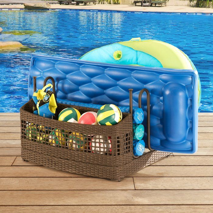 Pool Float Wicker Deck Box Pool Storage Pool Float Storage Wicker Deck Box