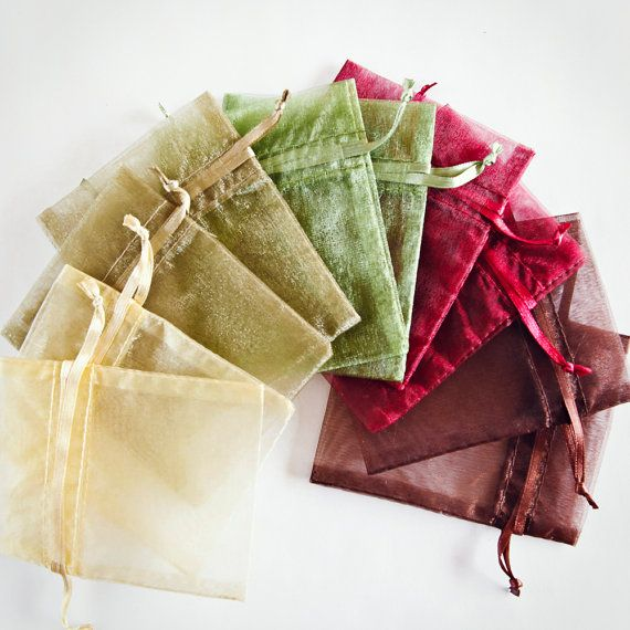 100 Organza Bags, 3x4 inch, multi color variety, Moss Green, Toffee, Ivory, Burgundy, Brown on Etsy, $16.00