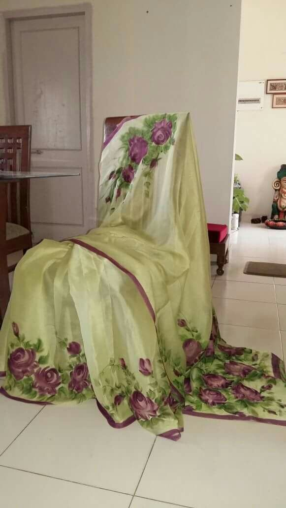 Hand painted saree in chinnon