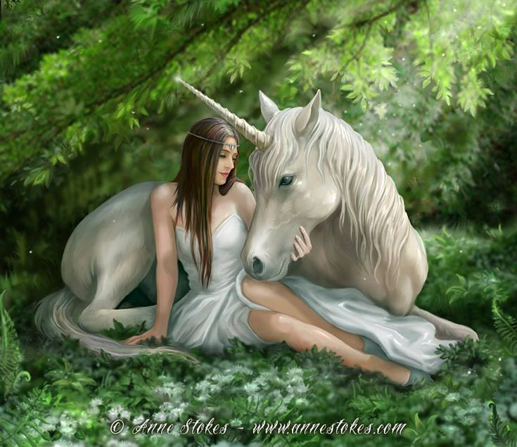 The subject of a unicorn and a girl has been used in various fantasy, historical and religious images. The unicorn is a magical creature and a symbol of purity and grace. According to legend unicorns are wild and shy animals and can only be tamed by a virgin maiden.