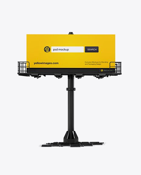Billboard Mockup Front View In Outdoor Advertising Mockups On Yellow Images Object Mockups In 2021 Billboard Mockup Mockup Psd Mockup Free Psd