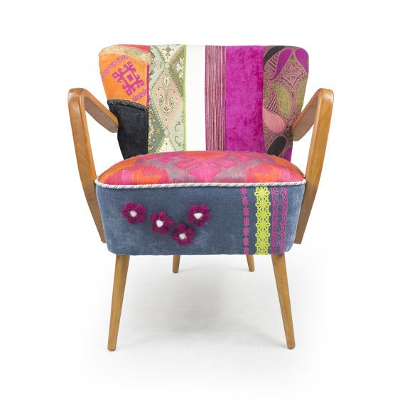 Vintage Mid Century Modern Patchwork Armchair Cuatro Flores By  Lasilladesign On Etsy