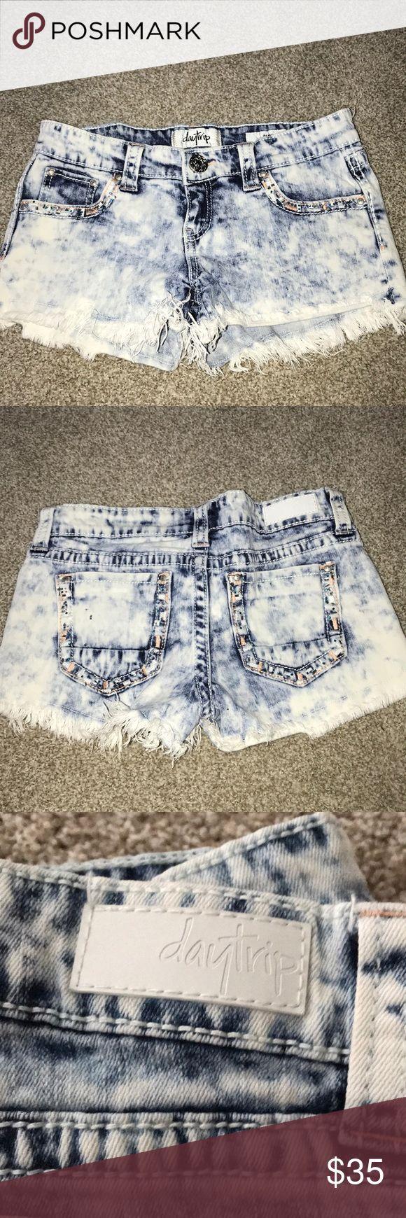Daytrip shorts Daytrip acid wash shorts with bling detail Daytrip Shorts Jean Shorts