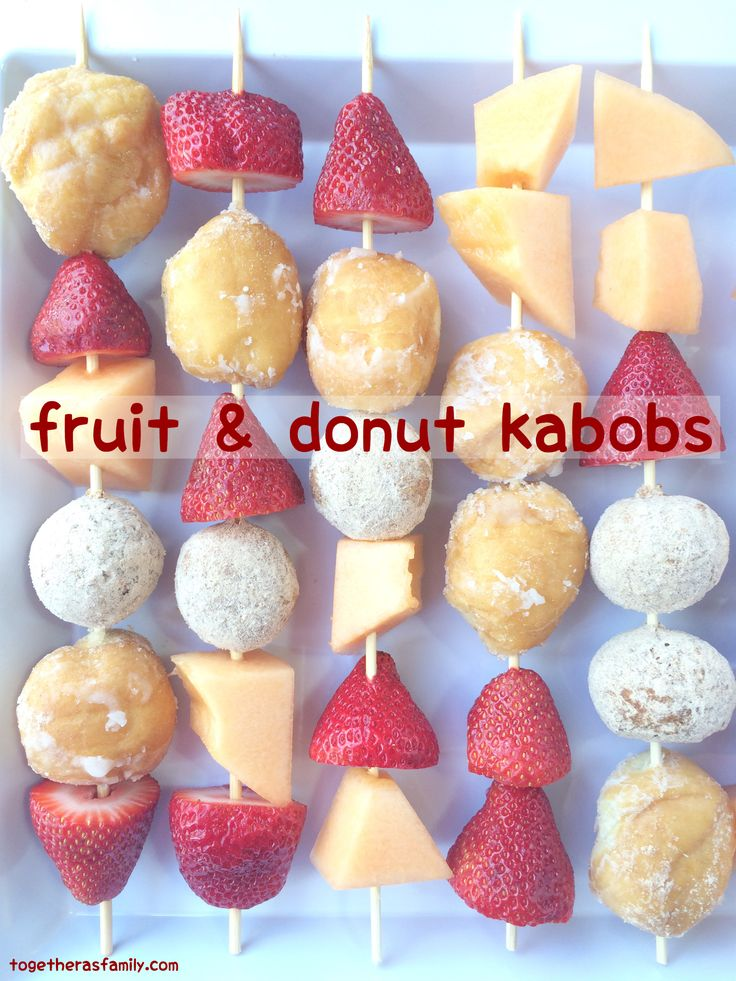 fruit & donut kabobs- fun breakfast treat or after school snack, or just because! Kids love to make these! www.togetherasfamily.com