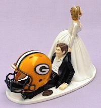 Wedding Cake Topper & Garter Set - Green Bay Packers Football Themed