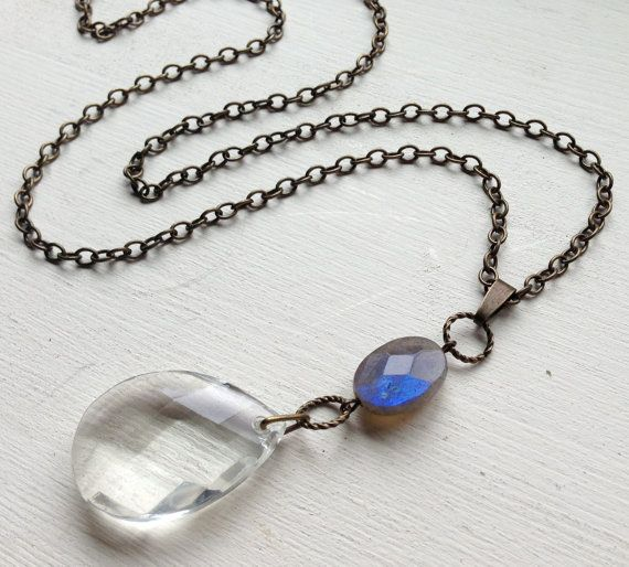 13 best chandelier jewelry images on pinterest crystal necklace reclaimed chandelier crystal and labradorite by vintagemusings aloadofball Images