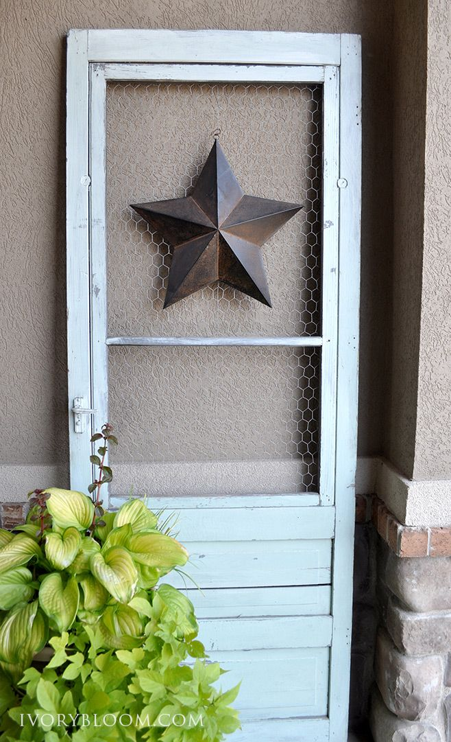 Old Screen Door Idea LOVE the idea of taking the rusty screen out and replacing with chicken wire to hang pics and whatnot on