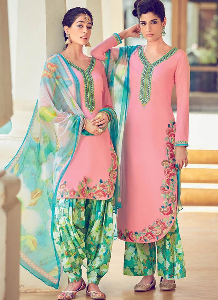 Rose Pink and Green Cotton Satin Suit