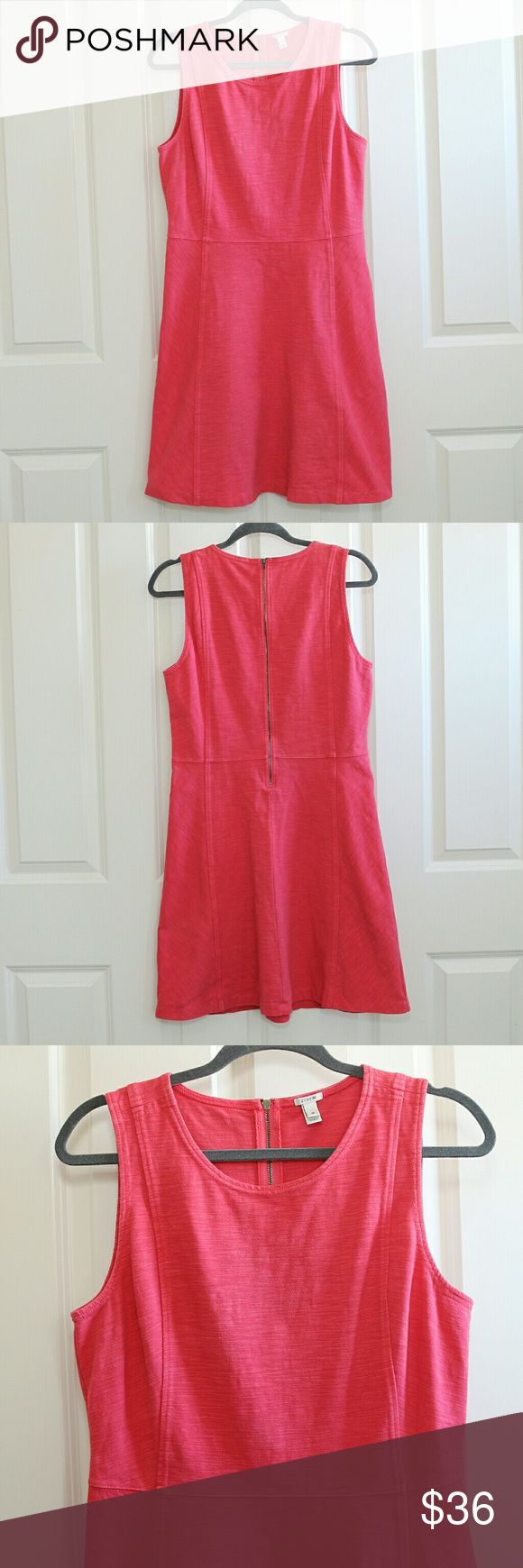 OFFER ME 50% OFF SALE/  J.Crew Pink Dress J.Crew Women's Dress.  Tank / sleeveless.  A line.  Cotton and Spandex.  Stretchy material.  Zip up the back.  Size 10.  About 18 inches armpit to armpit.  About 36 inches shoulder to hem.  Waist measures 16 inches from side to side.  Color is a deep pink / almost coral.  Has gentle wear.  Nothing excessive.  No stains or holes. J. Crew Dresses