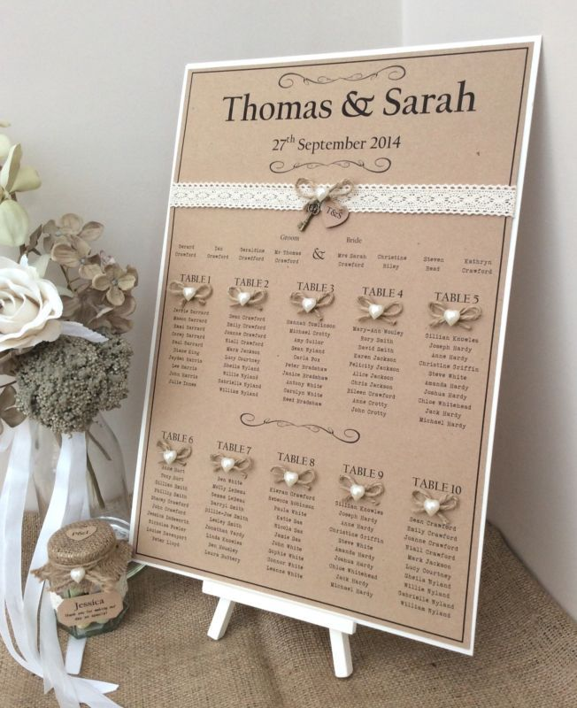 Rustic/Shabby Chic A3 Wedding Table Seating Plan