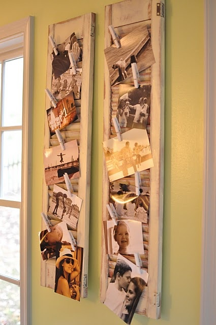 Shutters to hang pictures-too cute!: Christmas Cards, Old Shutters, Display Photos, Photos Holders, Pictures Display, Cute Ideas, Shutters Pictures, Photos Display, Shutters Photos