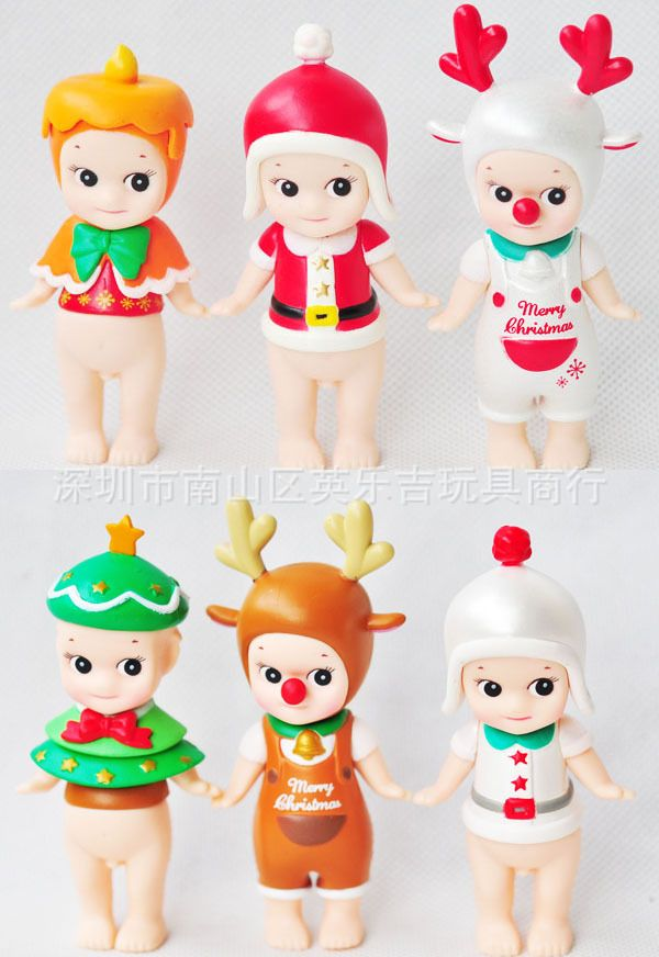 ==> [Free Shipping] Buy Best 2017 Sonny angel Chubby doll Christmas Elk Christmas tree change attire Funko pop New Year's gift Box Decoration PVC 8cm 6pcs Online with LOWEST Price | 32749040236
