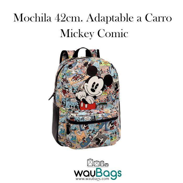 Consigue en waubags.com la Mochila grande Mickey Comic adaptable a carro, con un compartimento principal con cierre de cremallera doble, un bolsillo delantero, 2 correas para colgar a la espalda acolchadas y ajustables y un asa en la parte superior. @waubags #disney #mickey #comic #mochila #adaptable #carro #waubags