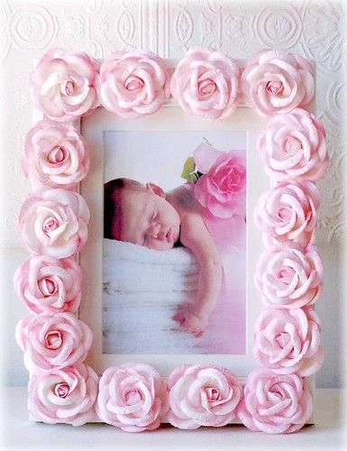 Pink Roses Picture Frame,Nursery Decor,Girl Room,baby,photo,shabby cottage chic