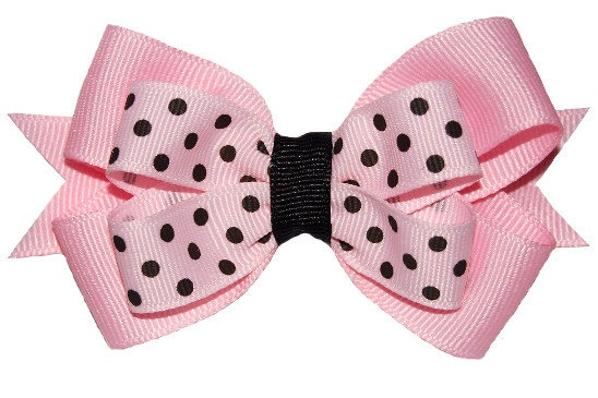 Pink & Black Hair bow for little girl.