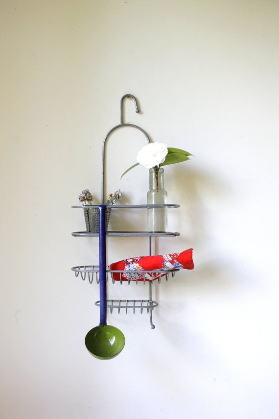 1960s Metal Shower Caddy/ Industrial Wire Shelf/ Repurposed Spice Rack/  Quirky Kitchen Decor