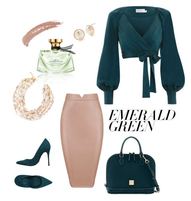 """Emerald day at the office"" by alexiss-yvore on Polyvore featuring Zimmermann, Schutz, Crown & Ivy, Dooney & Bourke, Kenneth Jay Lane, Topshop, Bulgari and emeraldgreen"