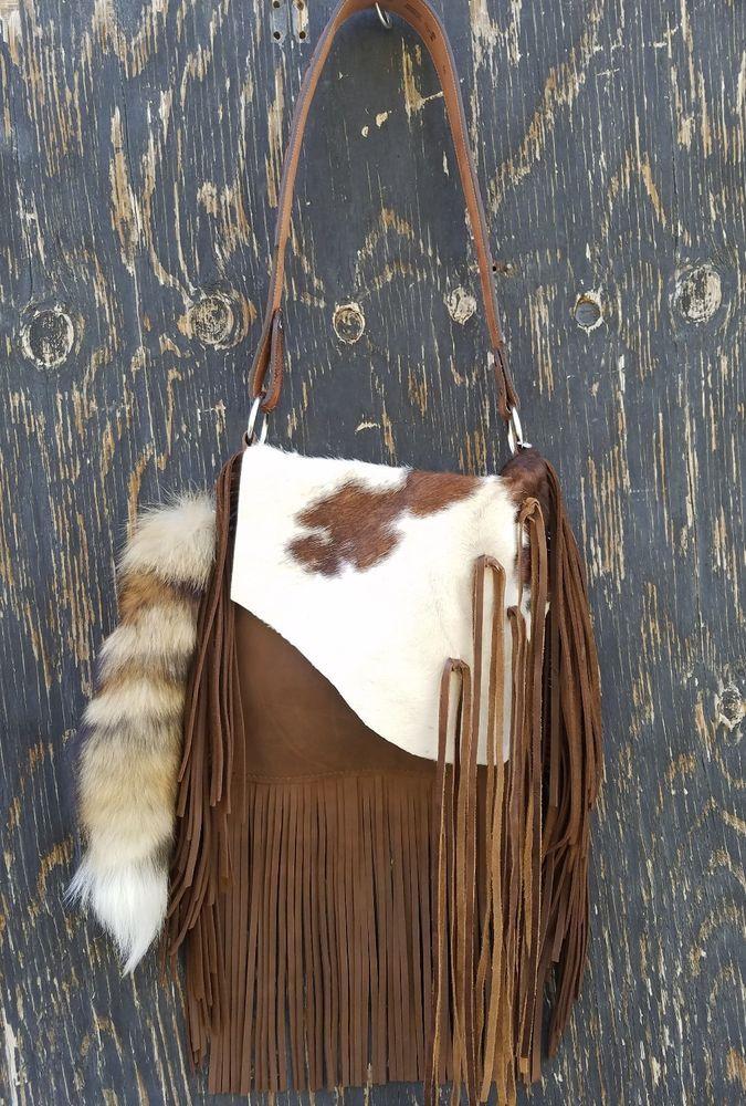 Western Distressed Leather Handbag Rodeo Purse w/ Fringe & Fox Tail Hippie SS6  | eBay
